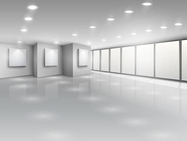 Empty gallery interior with light windows Premium Vector