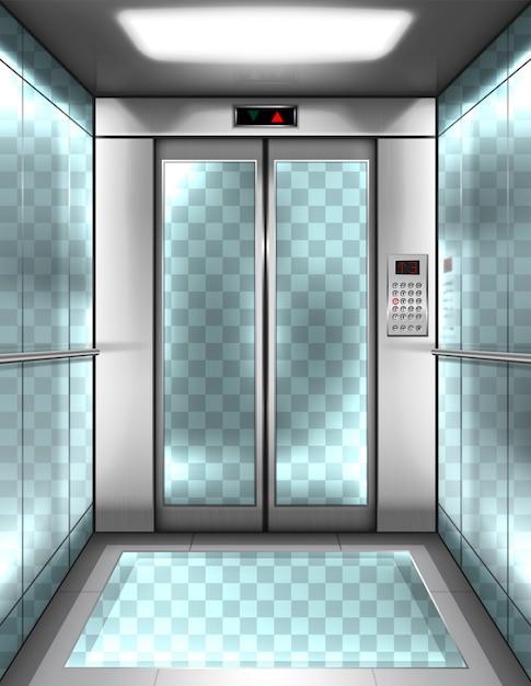 투명 벽 빈 유리 엘리베이터 오두막 무료 벡터
