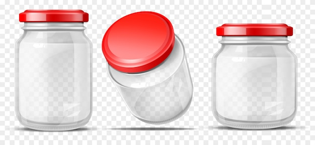 Empty glass jars for sauces realistic vector Free Vector