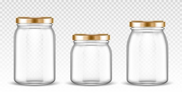 Пустые стеклянные банки разной формы с золотыми крышками Бесплатные векторы