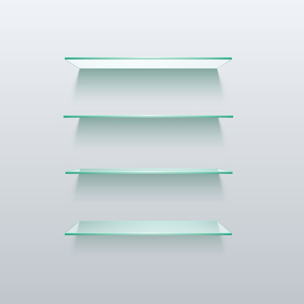 Empty glass shelf shelves isolated on wall Premium Vector