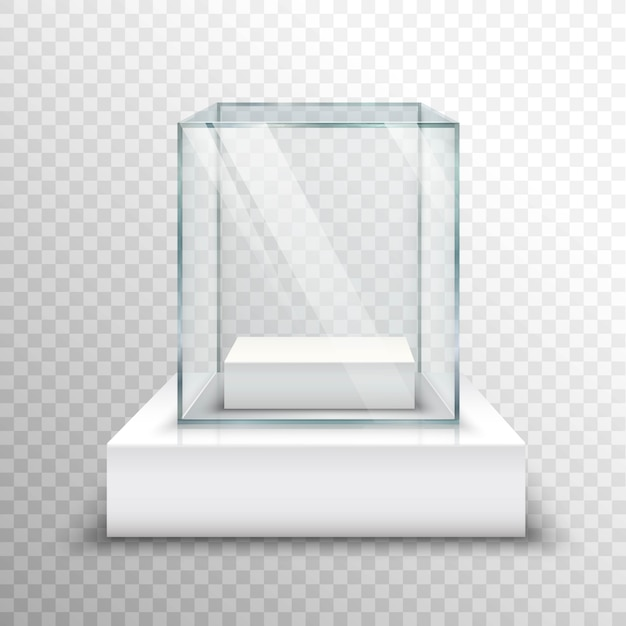 Empty glass showcase transparent Free Vector