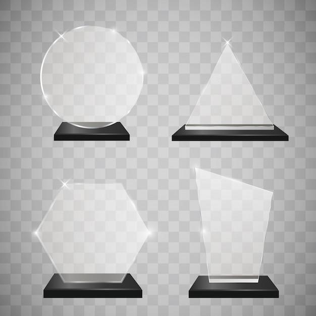 Empty glass trophy awards set Premium Vector