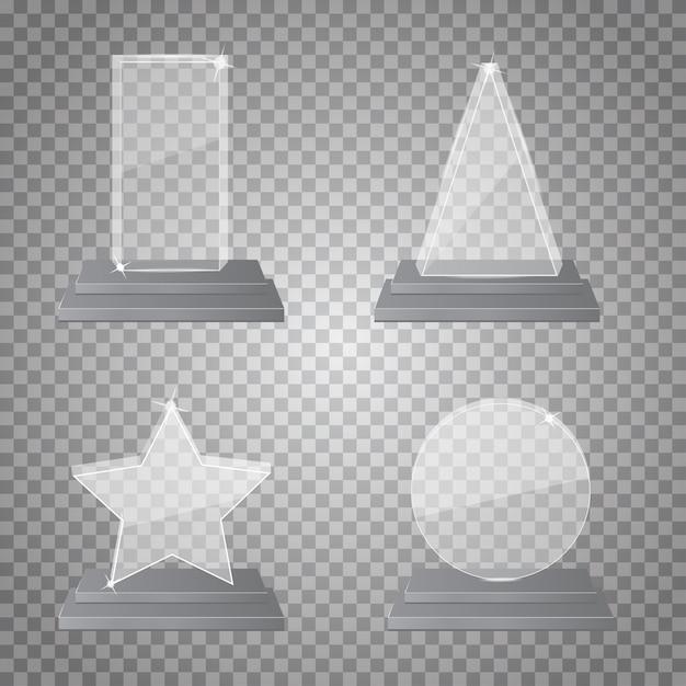 Empty glass trophy Premium Vector