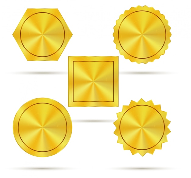 Empty golden metal badges Premium Vector