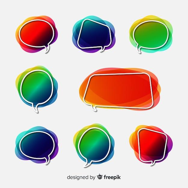 Empty gradient speech bubble collection Free Vector