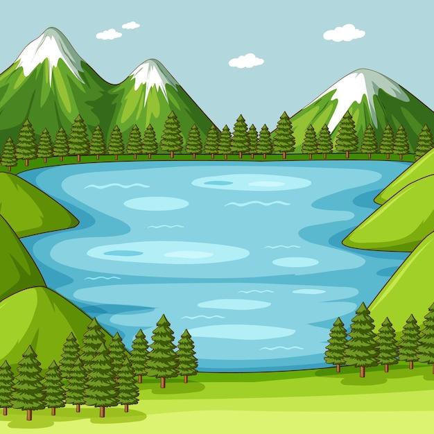 호수와 빈 녹색 자연 장면 무료 벡터