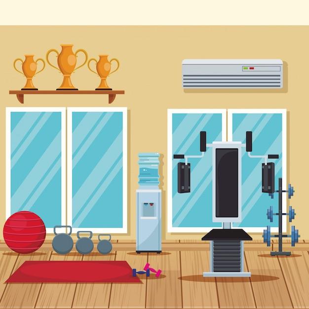Empty gym interior Premium Vector