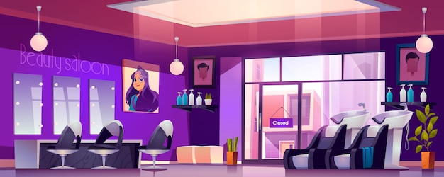 Empty hair salon interior with hairdresser chairs Free Vector