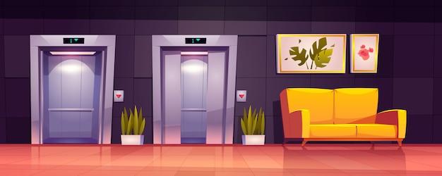 엘리베이터와 소파가있는 빈 복도 인테리어 무료 벡터