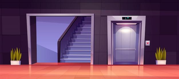 열린 엘리베이터 문과 계단이있는 빈 복도 인테리어. 무료 벡터