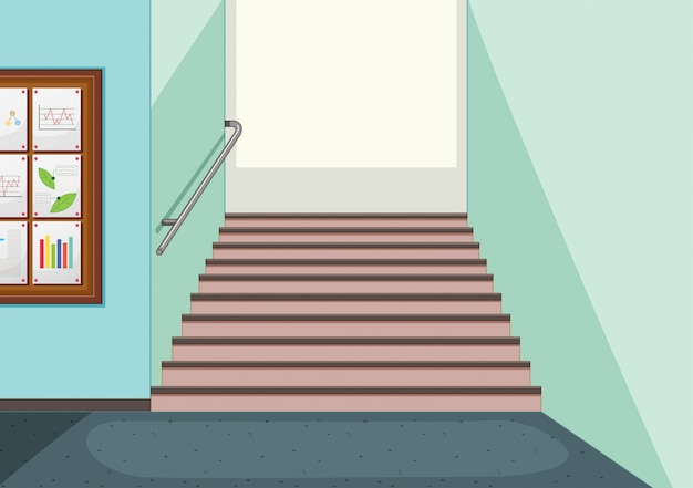 Empty hallway staircase background Free Vector