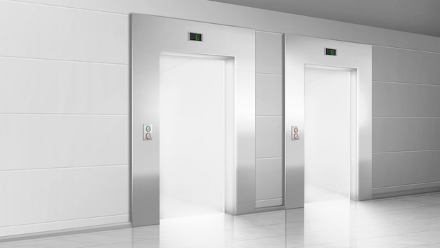 Empty hallway with light from open elevators doors Free Vector