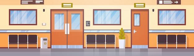 Empty hospital corridor clinic hallway interior Premium Vector
