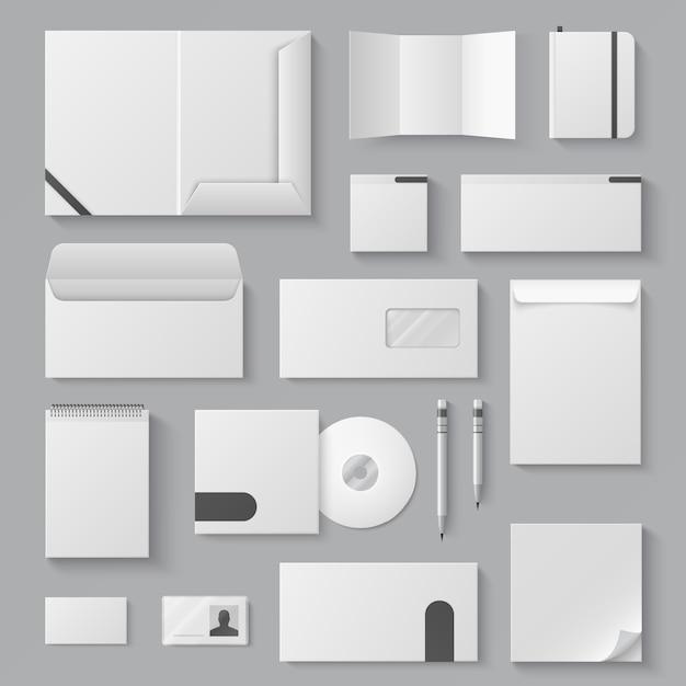 空のアイデンティティモックアップ。現実的な白い名刺文字文房具空白3 dドキュメントパンフレット。ビジネスidテンプレート Premiumベクター