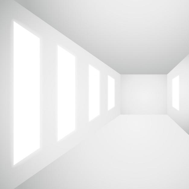 empty interior gallery with windows free vector