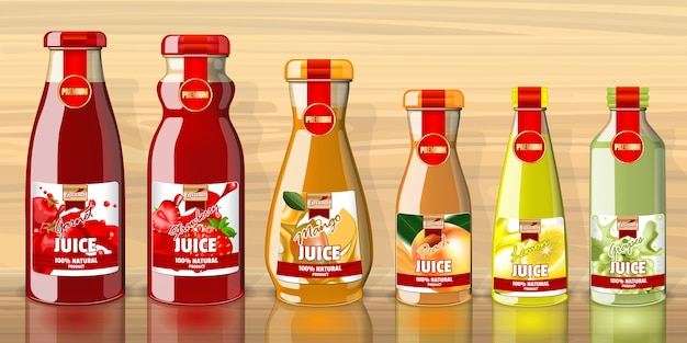 Empty juice bottles and lables template Premium Vector