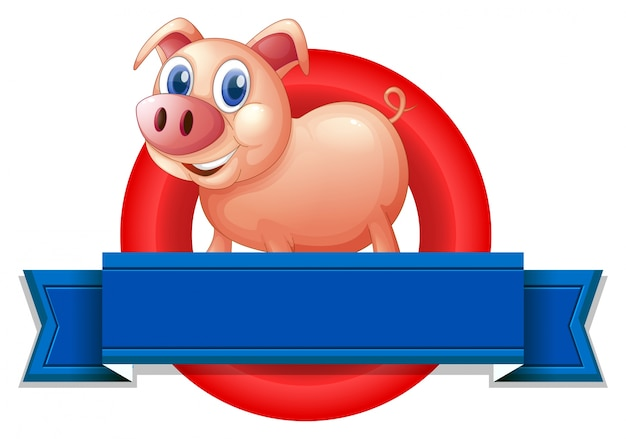 An empty label with a pig Free Vector