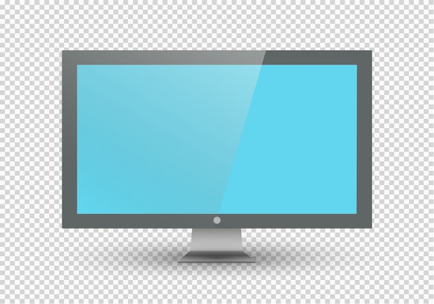 Empty lcd screen, plasma displays or tv for your monitor .computer or black photo frame,  on a transparent background. illustration. Premium Vector