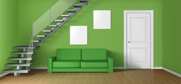 Empty living room with sofa, staircase and door Free Vector