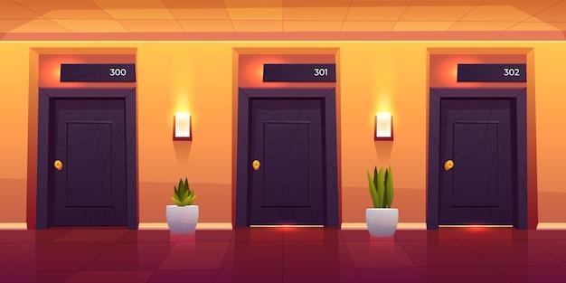 Empty luxury hotel hallway interior Free Vector