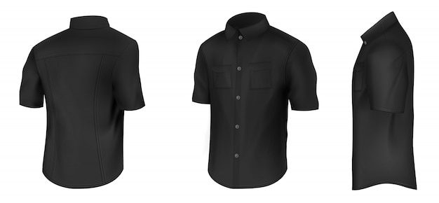 Empty mens classic black shirt with short sleeves Free Vector