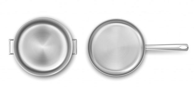 空の金属調理鍋とフライパンのトップビュー 無料ベクター