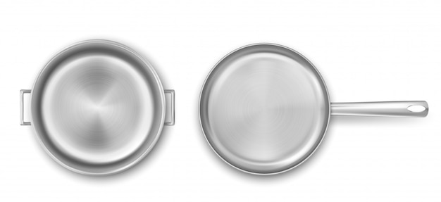 Empty metal cooking pot and frying pan top view Free Vector