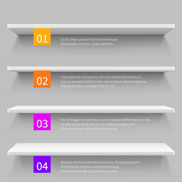 Empty modern store 3d shelves for product. shop interior vector infographic template. Premium Vector