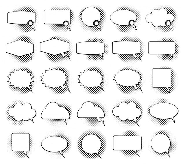 Empty monochrome speech comic text bubbles Premium Vector