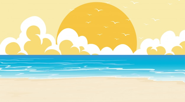 Empty nature beach ocean coastal landscape Free Vector