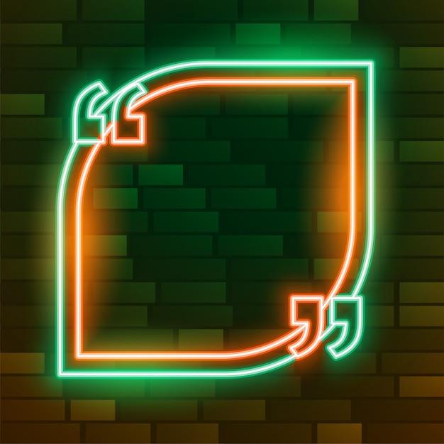 Cornice di citazione d'ardore al neon vuota con spazio testo Vettore gratuito