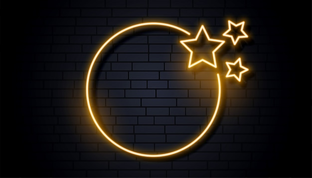 Empty neon signage frame with three stars Free Vector