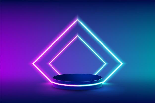 未来的な長方形の青とピンクのネオンライトで製品を交換するための空のネオンステージ Premiumベクター