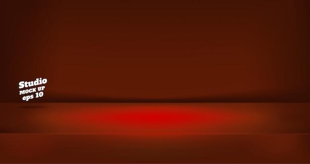 Пустой неоновый стиль темно-красный цвет студии стол фон комнаты Premium векторы