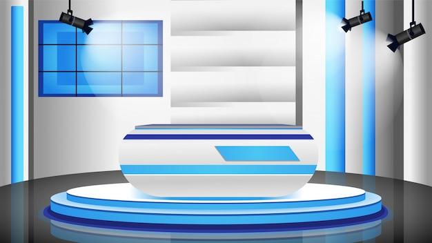空のニューススタジオカラーイラスト Premiumベクター