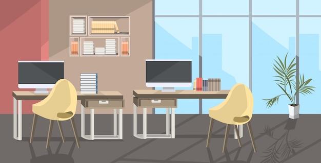 Пустой нет людей коворкинг центр современный открытый космос офис интерьер эскиз Premium векторы