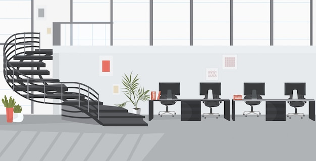 Empty no people coworking center with staircase modern office interior sketch Premium Vector