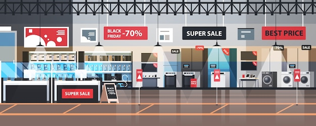 Empty no people electronics market black friday big sale promotion discount shopping concept household appliances store interior Premium Vector