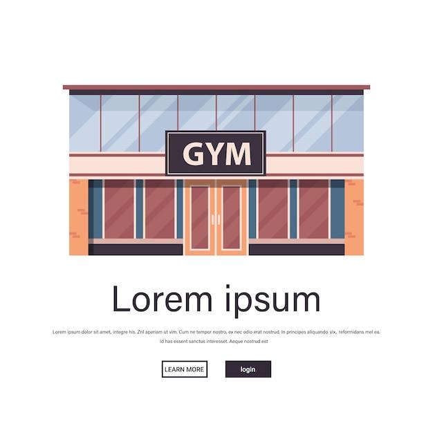 Пустой нет люди спорт тренажерный зал экстерьер фитнес обучение здоровый образ жизни концепция спорт студия здание фасад изолированные копия пространство Premium векторы