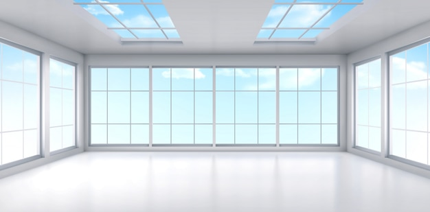 천장에 창문이 빈 사무실 룸 인테리어 무료 벡터