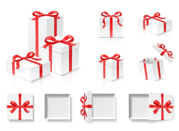 Empty open gift box set with red color bow knot and ribbon  on white background. happy birthday, christmas, new year, wedding or valentine day package concept. closeup   illustration Premium Vector