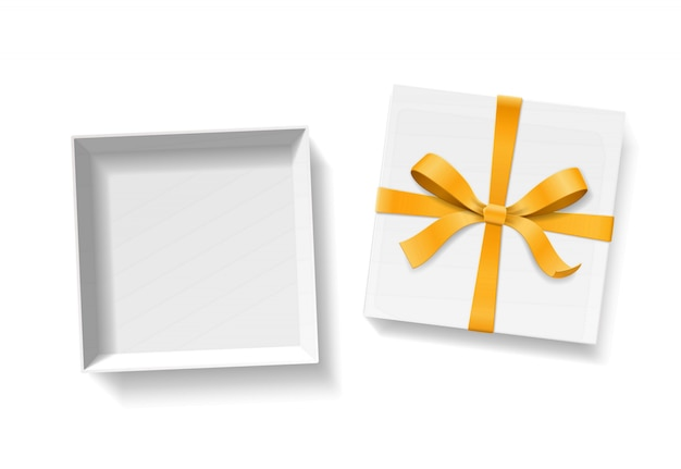 Empty open gift box with gold color bow knot and ribbon  on white background. happy birthday, christmas, new year or valentine day package concept. closeup  illustration  top view Premium Vector