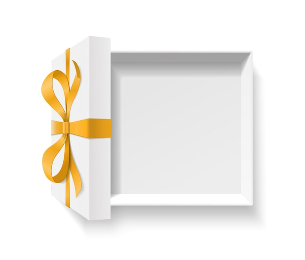 Empty open gift box with golden color bow knot, ribbon  on white background. happy birthday, christmas, new year, wedding or valentine day package concept.   illustration, top view Premium Vector