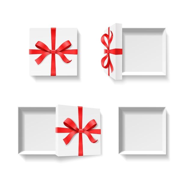赤い色の蝶結び、白い背景の上のリボンと空のオープンギフトボックス。お誕生日おめでとう、メリークリスマス、新年、結婚式やバレンタインのパッケージコンセプト。イラスト上面図 Premiumベクター
