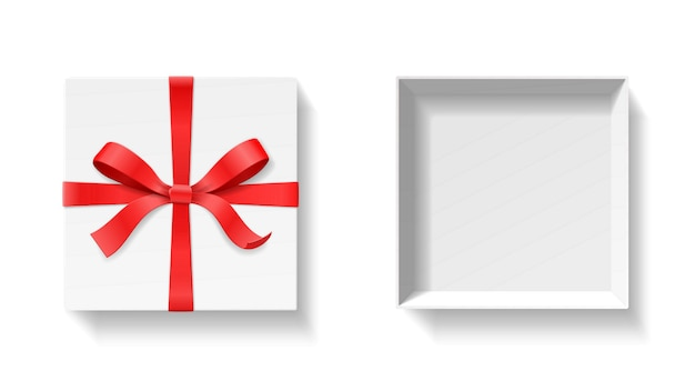 Empty open gift box with red color bow knot, ribbon  on white background. happy birthday, christmas, new year, wedding or valentine day package concept. closeup  illustration  top view Premium Vector