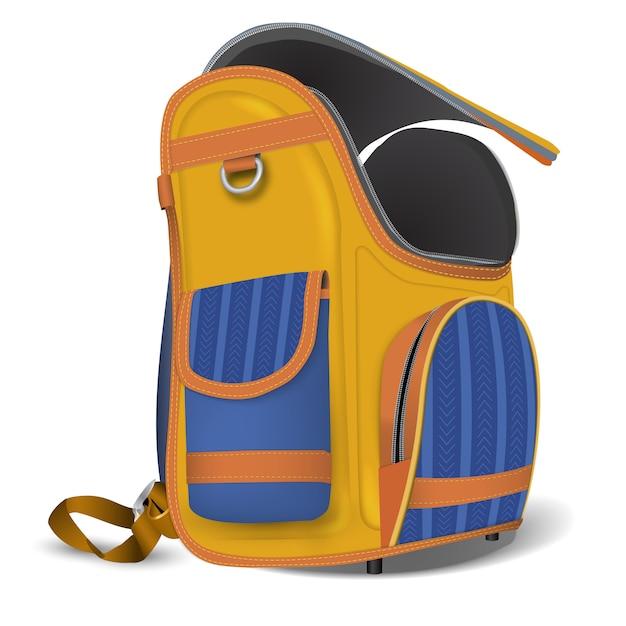 Empty open school satchel. Premium Vector