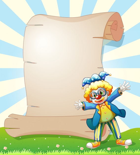 An empty paper at the back of a male clown Free Vector