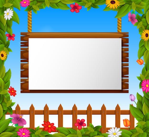 木製の看板に空の紙の空白 Premiumベクター
