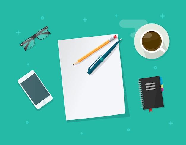 Пустой лист бумаги с карандашом на рабочем столе Premium векторы